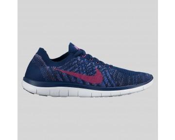 Damen & Herren - Nike Wmns Free 4.0 Flyknit Brave Blau Fuchsia Glühen