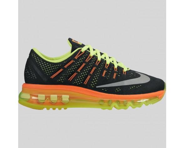 Damen & Herren - Nike Air Max 2016 (GS) Schwarz Spiegeln Silber Volt Total Orange