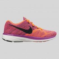Damen & Herren - Nike Wmns Flyknit Lunar3 Vivid lila Schwarz Hyper Orange