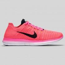 Damen & Herren - Nike Wmns Free RN Flyknit Pink Blast Schwarz Laser Orange