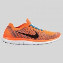 Damen & Herren - Nike Free 4.0 Flyknit Hyper Orange Schwarz Brave Blau
