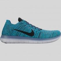 Damen & Herren - Nike Free RN Flyknit Ozean Fog Schwarz Blau Glühen Hyper Jade
