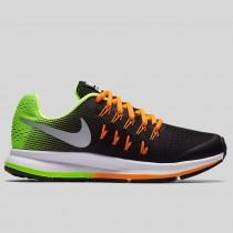 Damen & Herren - Nike Zoom Pegasus 33 (GS) Schwarz Metallisch Silber Volt Total Orange