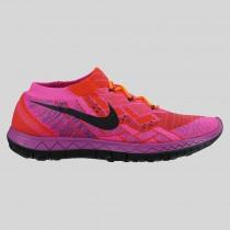 Damen & Herren - Nike Wmns Free 3.0 Flyknit Hyper Orange Schwarz Vivid lila