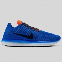 Damen & Herren - Nike Free RN Flyknit Racer Blau Schwarz Total Karmesinrot