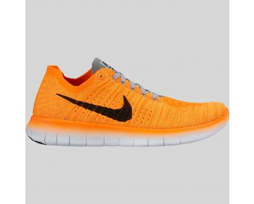 Damen & Herren - Nike Wmns Free RN Flyknit Laser Orange Schwarz Cool Grau