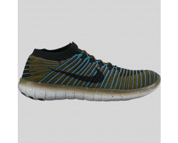 Damen & Herren - Nike Free RN Motion Flyknit Sequoia Schwarz Blau Glühen