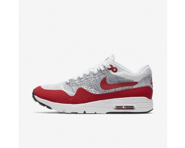 Nike Air Max 1 Ultra Flyknit Sneaker - Weiß/Reines Platin/Kühles Grau/Universität Rot